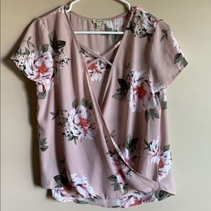 Lily White Blush Floral Cross Front Top Size M
